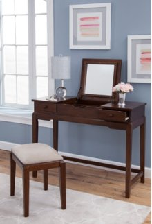 Vanity and Upholstered Bench Espresso