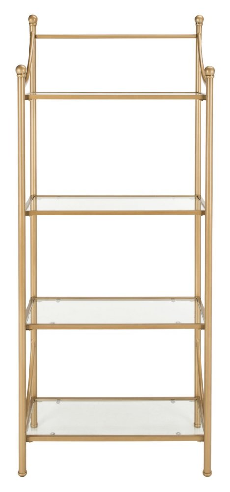 Diana 4 Tier Etagere - Gold Liquid / Tempered Glass