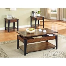 Magus Brown Oak & Black Finish Occasional Table Set