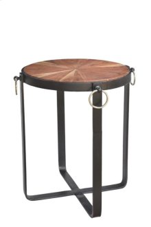Bengal Manor Iron Base Round Accent Table w/ Pie Shaped Wood Top