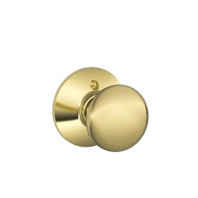 Plymouth Knob Non-turning Lock - Bright Brass