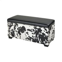 Nell Black and White Faux Hide and Black Pu Ottoman Product Image