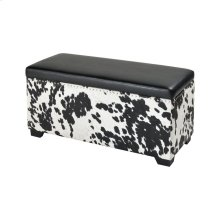 Nell Black and White Faux Hide and Black Pu Ottoman