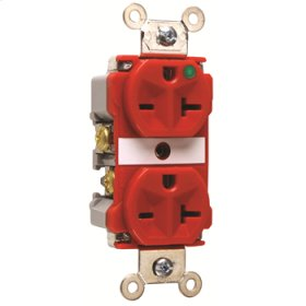 Extra Heavy-Duty Hospital Grade Receptacles, Back & Side Wire, 20A, 250V, Red