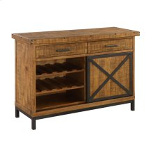 Server W/wine Rack-burnt Amber Finish-antique Black Metal Legs