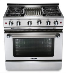 "36"" four burner gas convection range w/ 12"" Thermo-Griddle - LP"