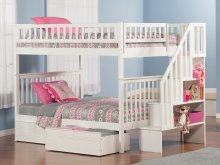 Woodland Staircase Bunk Bed Full over Full with Flat Panel Bed Drawers in White