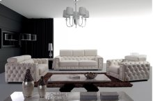 Divani Casa Lumy - Modern Tufted Leather Sofa Set with Crystals