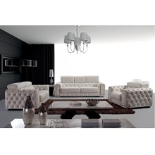 Divani Casa Lumy - Modern Tufted White Leather Sofa Set with Crystals