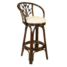 """Bali Indoor Swivel Rattan & Wicker 30"""" Bar Stool in Antique Finish with Cushion"""