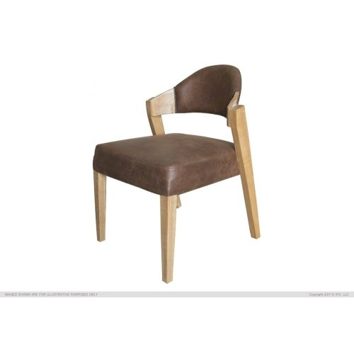 Chair w/ Solid wood, faux leather back & seat comala finish