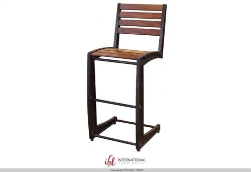 """24-30"""" Adjustable Height Swivel Stool, Wooden Seat, Iron base"""
