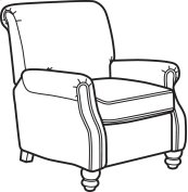 Bay Bridge Fabric High-Leg Recliner without Nailhead Trim