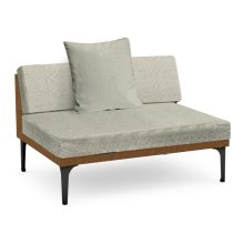 "55"" Tan Rattan Two-Seat Centre Sofa Sectional, Upholstered in Standard Outdoor Fabric"