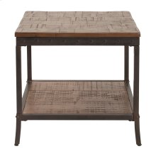 Pine End Table with Black Iron Frame