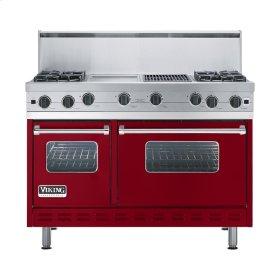 "Apple Red 48"" Open Burner Commercial Depth Range - VGRC (48"" wide, four burners 12"" wide griddle/simmer plate 12"" wide char-grill)"