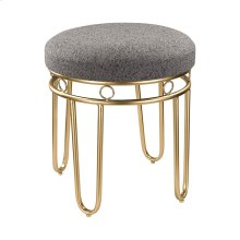 Grey Linen Stool with Gold Legs