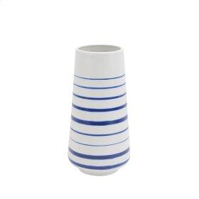 """Ceramic Stripped Vase 12"""", White/blue"""