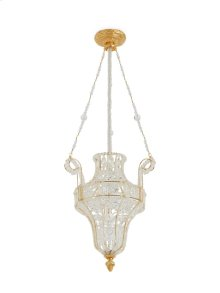 Antique Gold Crystal Pendant Chandelier with Louis XVI Canopy