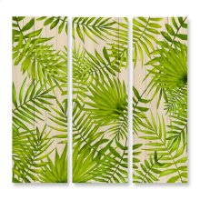 47X47 Tropic Leaves Triptych Hand Painted Wood