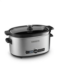 6-Quart Slow Cooker with Solid Glass Lid - Stainless Steel