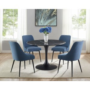 Steve Silver Co.Colfax 5 Piece Black Base/Black Marble Top Dining (Table & 4 Side Chairs)