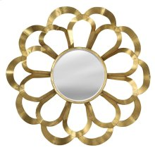Round metal wall mirror in gold leaf finish layers of open petals surround center mirror 39 inch dia