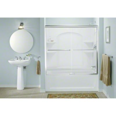 """Finesse™ Sliding Bath Door featuring Quick Install™ Mounting System - Height 55-3/4"""", Max. Opening 57"""" - Deep Bronze"""