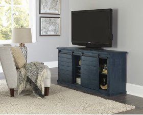64 Inch Console - Navy - Distressed Gray, Black, Navy, Pine, Red, \u0026 White Finish