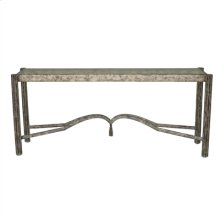 Fresco Finished Iron Console Table with Tassel Motif, Inset Glass Top