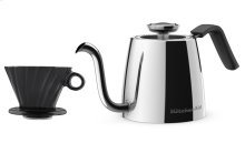Exclusive Precision Gooseneck Stovetop Kettle + 4 Cup Pour Over Cone Set - Stainless Steel