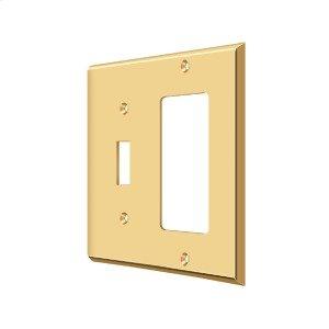 Switch Plate, Single Switch/Single Rocker - PVD Polished Brass Product Image