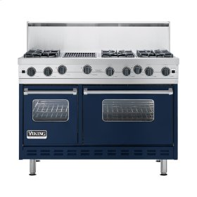 "Viking Blue 48"" Open Burner Commercial Depth Range - VGRC (48"" wide, six burners 12"" wide char-grill)"