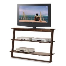 Lean Living Leaning TV Stand Burnished Brownstone finish