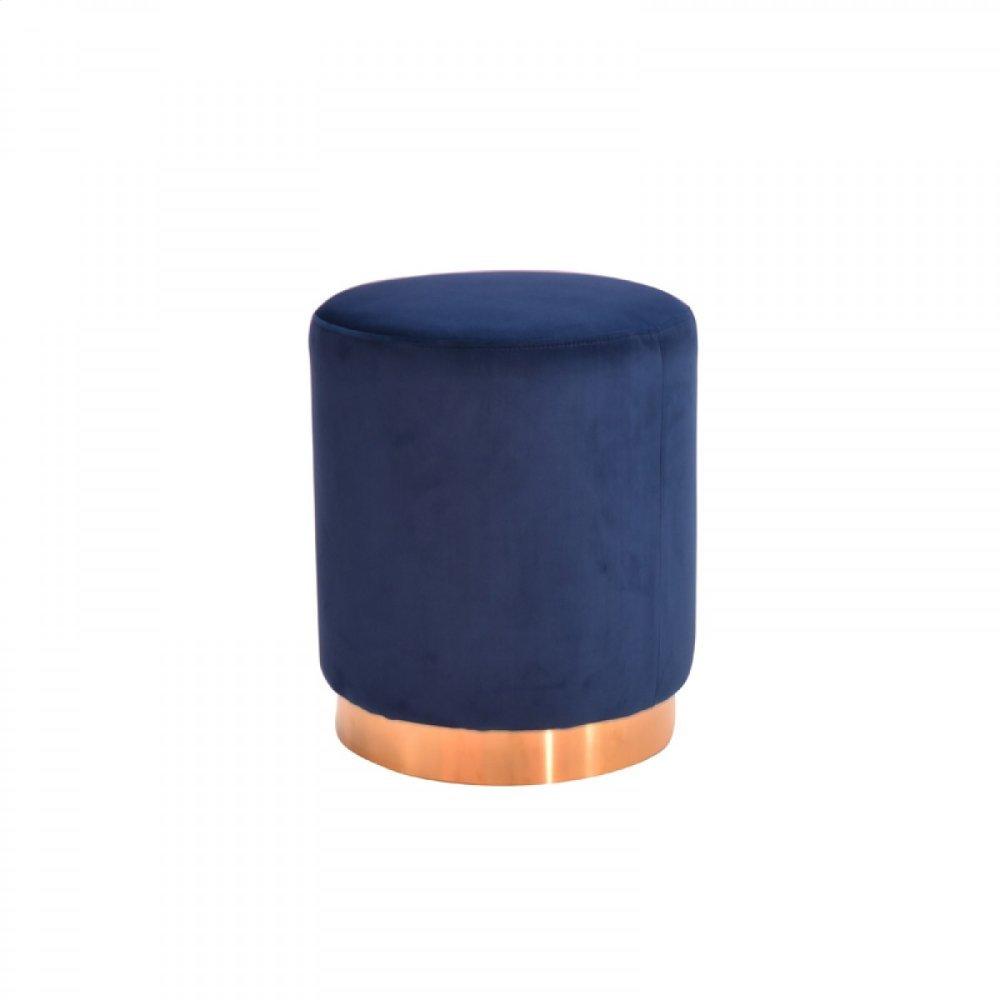 Modrest Ghent Modern Blue Velvet & Gold Ottoman