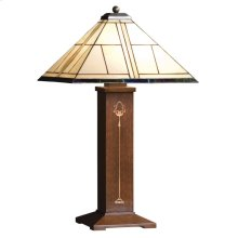 Art Glass Shade, Oak Ellis Table Lamp