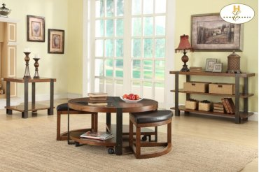 Round Cocktail Table with 2 Ottomans on Casters