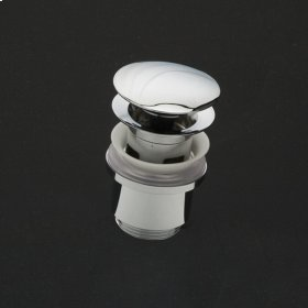 Click-clack drain for European lavatories, with round dome cover, no overflow holes. DIAM: 2 5/8""