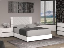 The Diamanti Queen Light Gray Eco-leather Headboard And High Gloss White Lacquer Bed