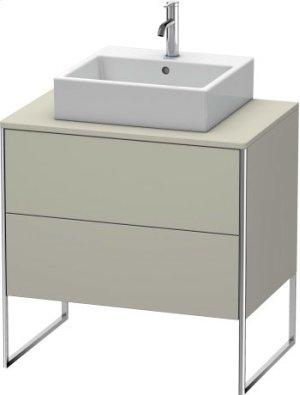 Vanity Unit For Console Floorstanding, Taupe Satin Matt Lacquer