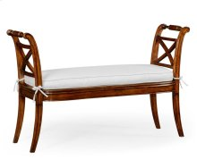 Regency Caned Walnut Bench with High Arms