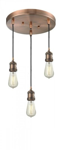 211/3-AC - BARE BULB 3 LIGHT PAN CHANDELIER