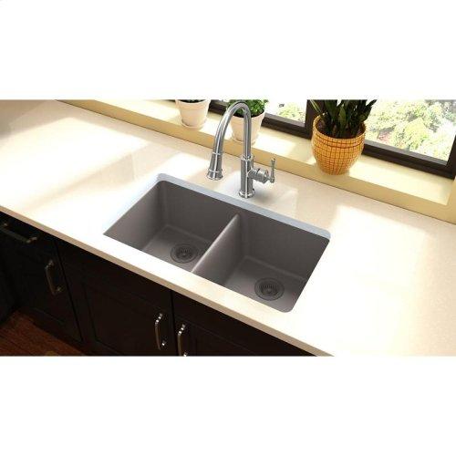 "Elkay Quartz Classic 33"" x 18-1/2"" x 9-1/2"", Equal Double Bowl Undermount Sink, Greige"