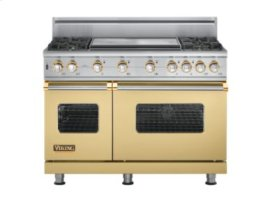 """48"""" Custom Sealed Burner Self-Cleaning Range, Natural Gas, Brass Accent"""