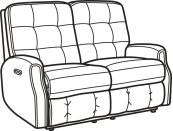 Devon Fabric Power Reclining Loveseat with Power Headrests and without Nailhead Trim
