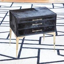 Stiletto Bedside Table-Black Hair-on-Hide