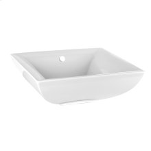Deck mounted washbasin sink (White Europe Ceramic) white - 17-11/16 x 6-1/4 high with overflow