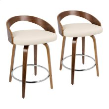Grotto Counter Stool - Set Of 2 - Walnut Wood, Cream Pu, Chrome