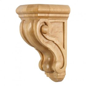 "4-1/2"" X 5-3/4"" X 9-3/4"" Rounded Scrolled Wood Corbel, Species: Maple"