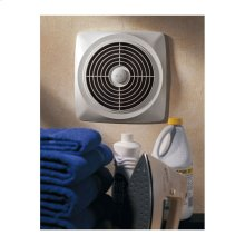 "10"" 470 CFM Chain-Operated Wall Fan, White Square Plastic Grille"